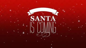 animierte Nahaufnahme Santa kommt Text und fliegen weiße Schneeflocken auf schneerotem Gradientenhintergrund