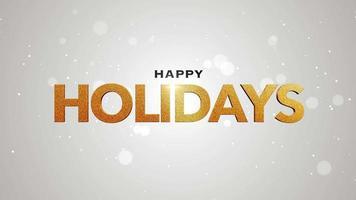 animierte Nahaufnahme frohe Feiertagstext und fliegen weiße Schneeflocken auf Schneehintergrund