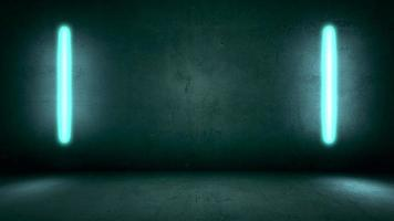 câmera de movimento de animação e luzes de néon brilhantes no fundo da parede do clube video