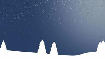 natuur winter achtergrond met kerstbomen en witte sneeuwvlokken in de nacht video
