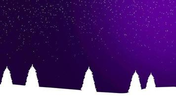 Naturwinterhintergrund mit Weihnachtsbäumen und weißen Schneeflocken in der Nacht video