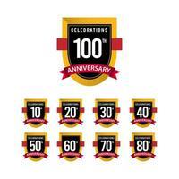 100 Th Anniversary Celebrations Gold Black White Vector Template Design Illustration