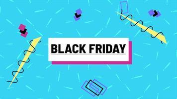 Animationstext schwarzer Freitag und Bewegung abstrakte geometrische Formen, Memphis Hintergrund video
