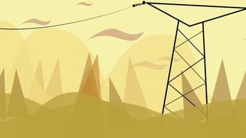 tecknad animation bakgrund med rörelse moln och kraftledning, abstrakt stadsbild bakgrund
