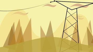 fond d'animation de dessin animé avec nuages de mouvement et ligne électrique, toile de fond abstraite de paysage urbain video