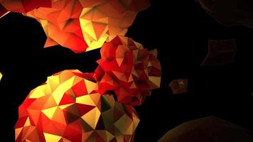 animação abstrato orbe líquido laranja no cosmos, fundo preto video