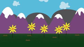 fundo de animação de desenho animado com flores e montanha, pano de fundo abstrato