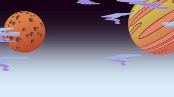 Karikaturanimationshintergrund mit Mond und Planeten im Raum, abstrakter Hintergrund