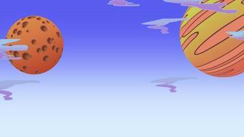 fundo de animação de desenho animado com lua e planeta no espaço, pano de fundo abstrato