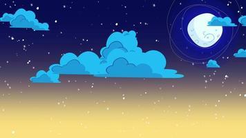 tecknad animation bakgrund med rörelse moln och månen, abstrakt bakgrund
