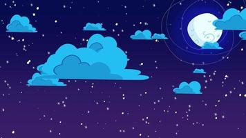 fundo de animação de desenho animado com nuvens de movimento e lua, pano de fundo abstrato
