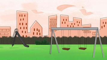 Fondo de animación de dibujos animados con edificios y parque de la ciudad, telón de fondo abstracto video