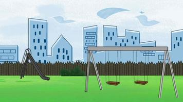 Fondo de animación de dibujos animados con edificios y parque de la ciudad, telón de fondo abstracto