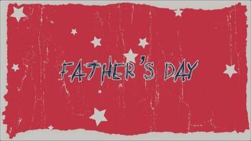 animatie tekst vaders dag op hipster en grunge achtergrond met retro sterren