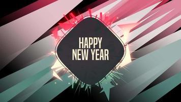 Animación texto de introducción feliz año nuevo sobre fondo de moda y club con rayas verdes y rojas brillantes video