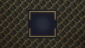 forma geométrica abstrata de ouro e luxo com moldura, fundo retrô video