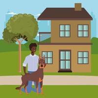 Hombre afro con mascota perro lindo en la casa al aire libre vector
