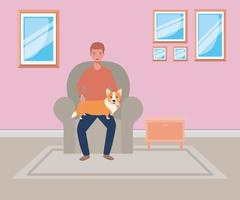 young man with cute dog mascot in the livingroom vector