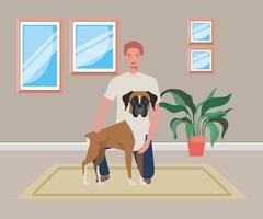 young man with cute dog mascot in the house room vector