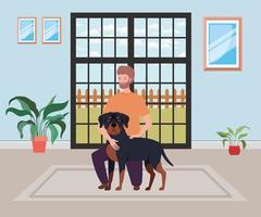 Hombre joven con mascota perro lindo en la habitación de la casa vector