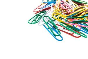Paper clips on white background photo