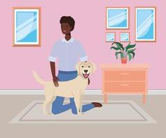 Hombre afro con mascota perro lindo en la casa de la habitación vector