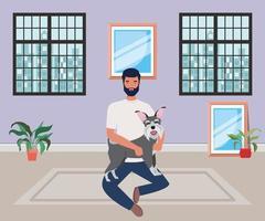 Joven con mascota perro lindo en la casa de la habitación vector