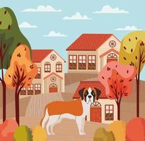 cute dog in a beautfiful neighborhood autumn scene vector