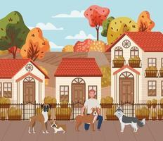 joven con lindas mascotas perros en la escena de la ciudad de otoño vector