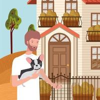 young man with cute dog mascot in the autumn city scene vector