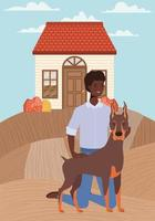 afro man with cute dog mascot in the autumn city scene vector