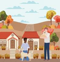 interracial men with cute dogs mascots in the autumn city scene vector