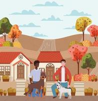 interracial young men with cute dogs outdoors vector