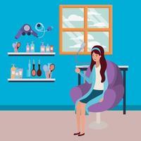 mujer joven en la peluquería vector