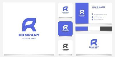 Simple and Minimalist Geometric Overlapping Letter R Logo with Business Card Template vector