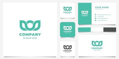 Simple and Minimalist Geometric Green Crown Logo with Business Card Template vector