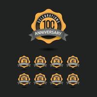 Ilustración de diseño de plantilla de vector de celebraciones del 100 aniversario