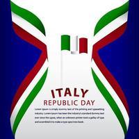 Feliz día de la república de Italia celebración vector plantilla diseño ilustración