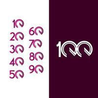 100 Years Anniversary Celebration Purple Line Vector Template Design Illustration