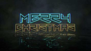 texte d'animation joyeux noël et fond d'animation cyberpunk avec néons sur rue de la ville