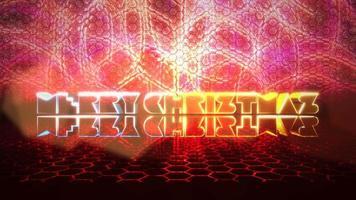 animatietekst vrolijk kerstfeest en beweging rood licht op het podium, abstracte vakantie achtergrond video