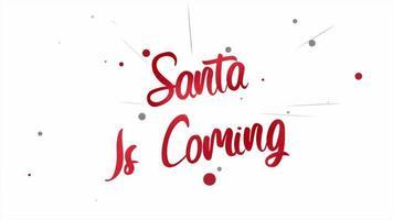 animierte Nahaufnahme Santa kommt Text und fliegen rote Konfetti auf Feiertagshintergrund