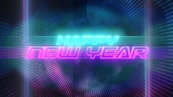animação texto feliz ano novo e movimento pontos abstratos coloridos, fundo abstrato do feriado video