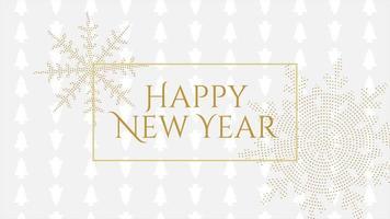 geanimeerde tekst van het close-up gelukkige nieuwe jaar en gouden sneeuwvlokken met op vakantie zwarte achtergrond video