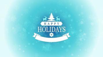 geanimeerde tekst van de close-up gelukkige vakantie met sneeuwvlokken, herten en kerstbomen op sneeuw blauwe achtergrond video