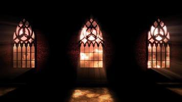 animação fundo de terror místico com corredor escuro do castelo
