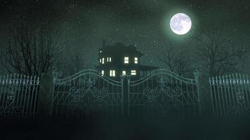 fond d'horreur mystique avec la maison et la lune