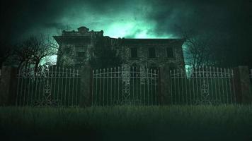 mystisk skräckbakgrund med huset och månen video