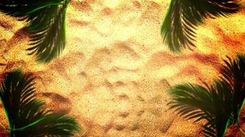 Closeup sandy beach with sand and palm trees, summer cinematic background video