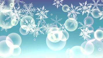 Animation fliegen weiße Schneeflocken und abstrakte Partikel auf blauem Feiertagshintergrund